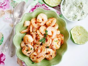 Grilled Lime Scampi with Avocado Dip