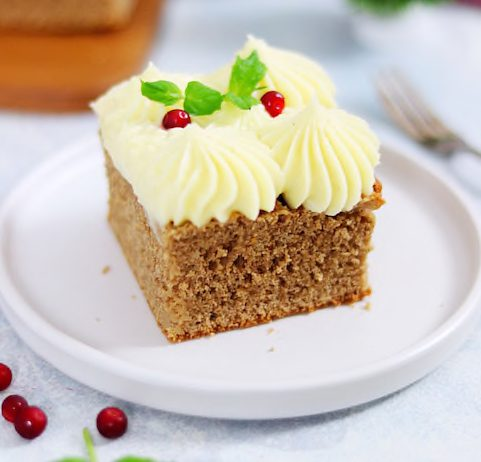 Soft Gingerbread with Cream Cheese Frosting and Lingonberry