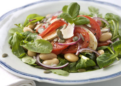 A Wonderful Salad with Beans, Red Onion and Tomato