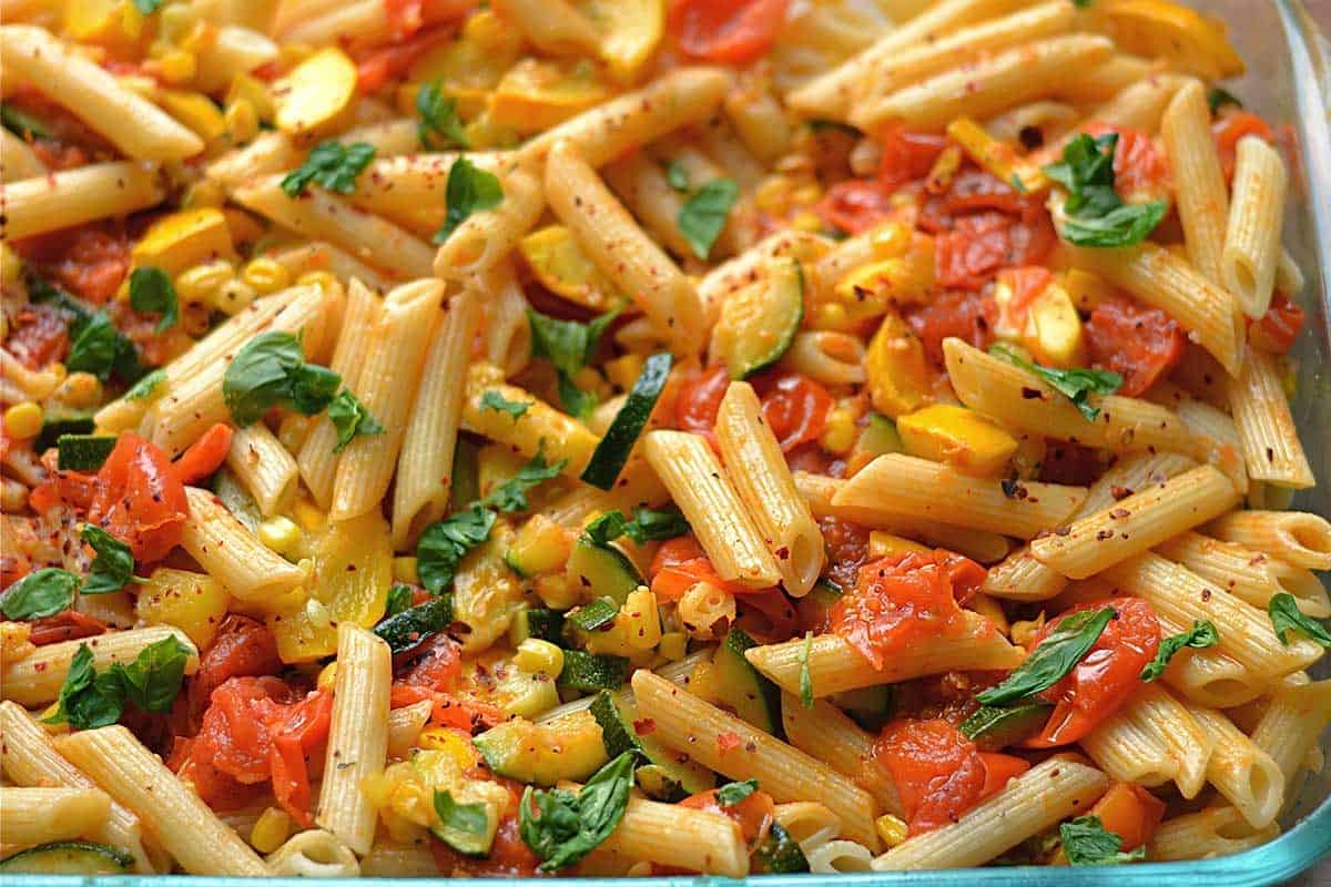 Fresh Pasta with Grilled Vegetables Vegetarian Recipe